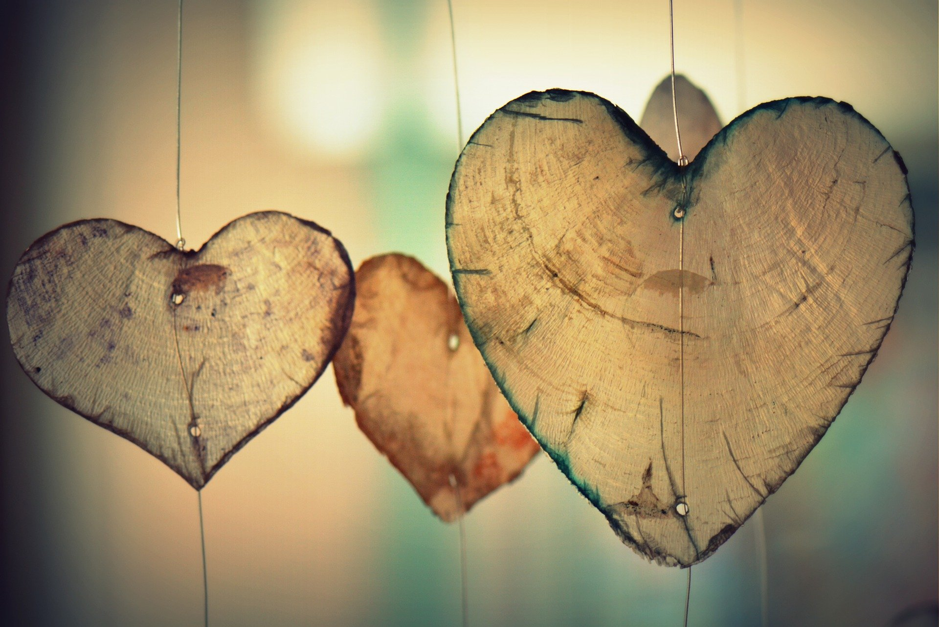 Hanging Heart Shapes made of wood